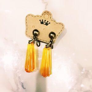 Orange Clip On Plastic Earrings